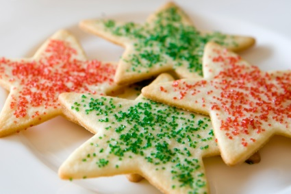 Star-shaped holiday sugar cookies sprinkled with red and green sugar.